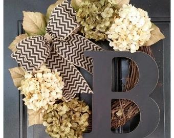 DOOR Wreath, Gold Wreath, Everyday Door Decor, Door Wreath, Hydrangea Wreath with Black Chevron Bow