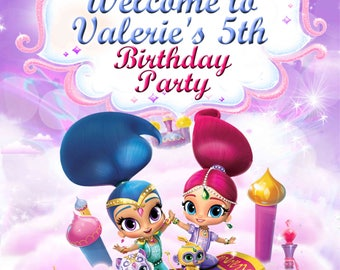 Shimmer and Shine welcome sign- backdrop- birthday party - Digital file YOU PRINT