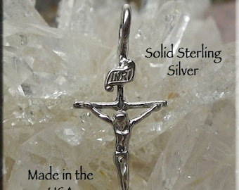 Crucifix Charm, Sterling Silver Small Catholic Cross Necklace, Christian Jewelry, Crucifix Necklace - SE-1930