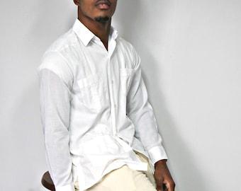 Vintage Men's Guayabera Shirt White Wedding Long Sleeve Panama Size Med 15 1/2