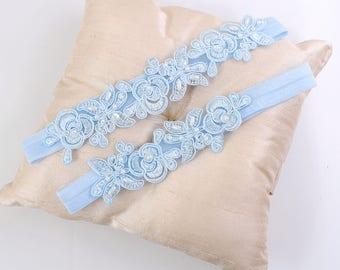 Light Blue Embroidery Flower Lace Wedding Garter Set, Light Blue Garter Set,Blue Toss Garter,Something Blue, Bue Wedding Garter