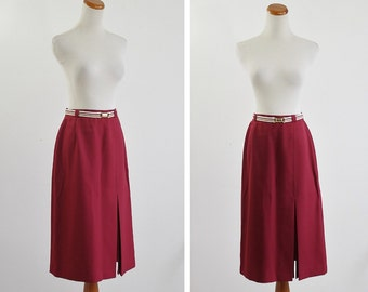 Vintage Skirt, 70s Burgundy Maroon Red Skirt, A Line Skirt, 1970s Skirt, Deep Red Skirt, Striped Belt, Flared Skirt, Waist 28 Medium