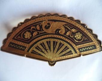 Vintage Unsigned Large Goldtone/Silvertone Damascene Fan Brooch/Pin
