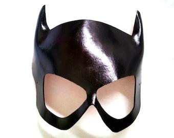 Masque en cuir noir Babbs 1960 ' s Batgirl Cosplay