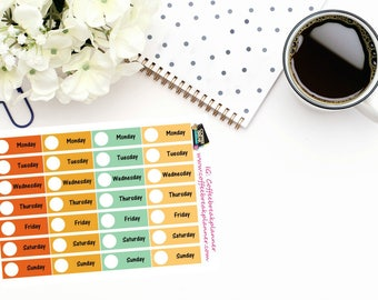 Planner Stickers  Date Header Stickers in Fall Colors Hello Fall Date Headers 4 weeks of Date Header Stickers DC013