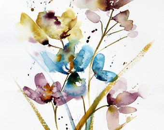 Floral Abstract Botanical  Watercolor PRINT, flower painting,  botanical painting, floral botanical  wall hanging