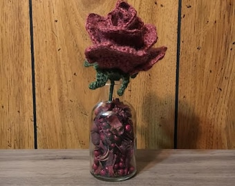 Aromatherapy Brick Red Rose - Fake Roses - Flowers in Vase with Potpourri - Mothers Day Gift for Her - Gifts for Mom - Housewarming Gift