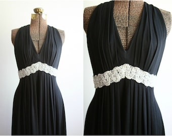 70s Disco Maxi | Long Black Dress | Iridescent Empire Waist | Sleeveless Floor Length Gown | Black and Silver [ small - medium ]