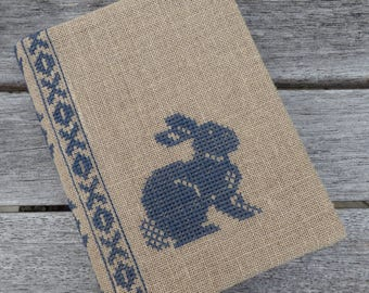 Cross Stitch A6 Journal & Cover - Grey Rabbit