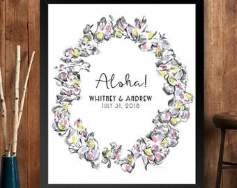 Hawaiian Lei Thumbprint Guestbook Print, Guest Book, Wedding, Bridal Shower, Beach Themed, Alternative Sign-in (8 x 10- 24 x 36)