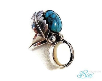 NAVAJO silver TURQUOISE and mother of Pearl ring M20!