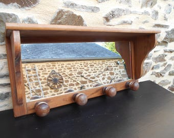 Vintage French Entrance Mirrored Coat/Hat Wooden Wall Rack