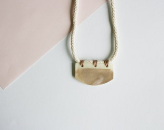 Marble Pendant Boho Necklace - Cotton Rope - Waxed Cotton Rope - Marble - Beige - Rose - Pink - Ethno - Statement