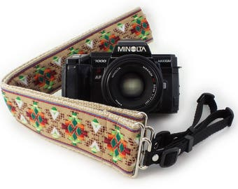 Camera Strap - Tan Southwestern Woven Ribbon on Organic Hemp Webbing and Webbing ends - works with DSLR, SLR and Manual Cameras