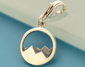 Sterling Silver Mountain Range Pendant claps - Travel Jewelry - Mountains - DIY Jewelry - Add to your necklace bracelet or keyring