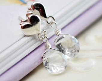 April Birthstone Earrings Child Children Girl Crystal Quartz AAA Gemstone Sterling Silver Jewelry Heart Ear Posts