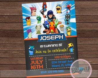 Birthday Party Invitation, Slugs Birthday Invitation, Boy Birthday Party Invitation, Chalkboard Party Invitation, Digital File.