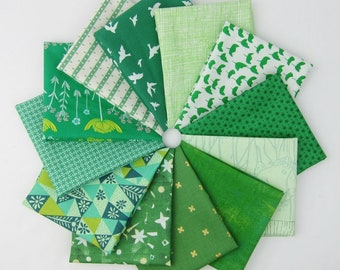 Easy Being Green Fat Quarter Bundle - 12 Fat Quarters - 3 Yards Total