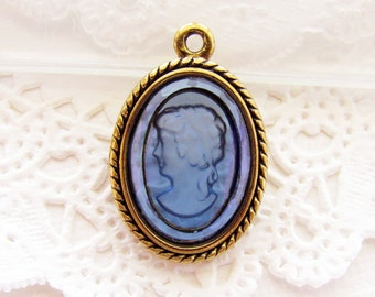 Vintage Montana Blue Glass Intaglio Cameo in Antiqued Brass Pendant Setting 26x17mm Earring Dangle - 1