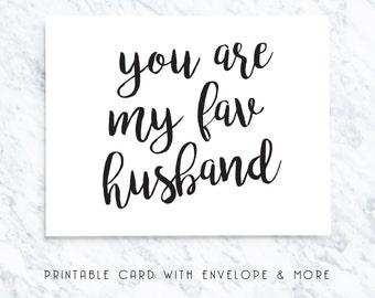 husband printable card, favorite husband, favourite husband, cute card, valentines card, card for husband, instant download