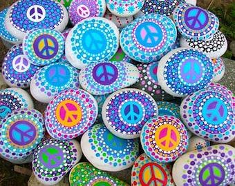 Custom Peace Rocks ~ Set of 2