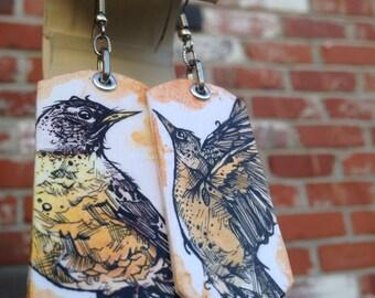 Spring Robin earrings - time to fly -Hand-Painted bird earrings Portland Oregon
