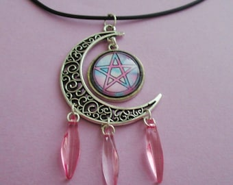 pentacle moon necklace - moon choker - pentagram necklace - wiccan jewelry