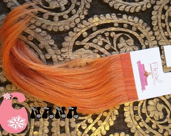 "Orange, extension hair strips human hair Extensions, band European hair Extensions, 15 "", skin/glue"