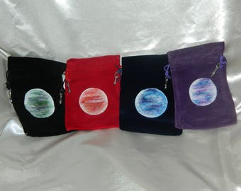 HAND PAINTED 'Mystic Moon' Velvet Pouch. Suitable for Crystals, Runes, Jewellery. - Four colours to choose from - Unique Design. Pagan.