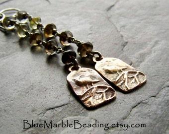 Bird Earrings, Rustic Earrings, Shoulder Duster, Quartz Earring, Hand Cast Bronze, Raven, Ombre Earring, Long Earrings, Wire Wrapped Jewelry