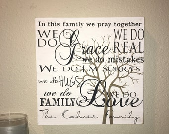 Custom Wood Sign, In This Family We Do Second Chances, Family Sign, Family Home Decor, Family Beliefs Sign, Family Values, We Do Grace