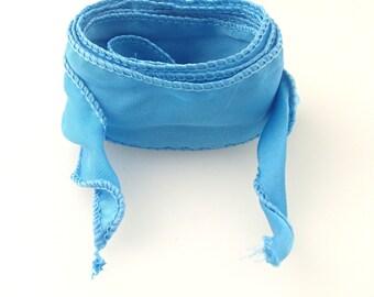 Faux silk ribbon for wrap bracelet 1.5in x 45in hand sewn yoga bracelet style color 05 Aqua (8127)