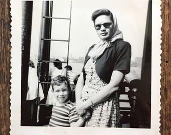 Original Vintage Photograph Stylish Mother