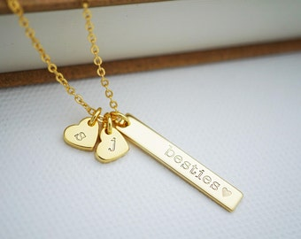 Besties Vertical bar Necklace with hearts Personalized necklace Bridesmaid Gifts Christmas gift Personalized jewelry monogram jewelry