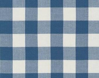 "Denim 1"" Plaid Cotton, Carolina Gingham, Blue Scarf Fabric, Navy Cream Quilting fabric, Apparel Fabric, Plaid cotton Scarf, Robert Kaufman"