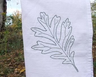 Hand embroidered Oak leaf tea towel