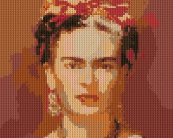 Frida Kahlo portrait counted Cross Stitch Pattern Iconic Mexican Artist Painter