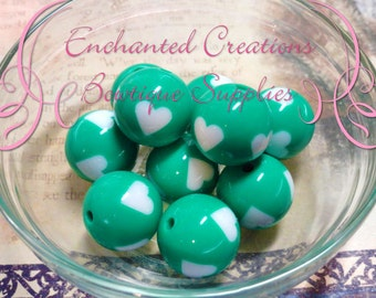 20mm Round Kelly Green with White Hearts Acylic Beads Qty 10