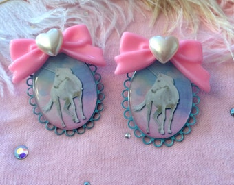 Pretty Unicorn Large Cameo Earrings, Plastic Jewelry
