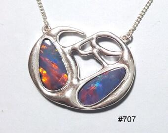 Australian opal pendant in Argentium 935 silver