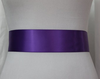 Purple Sash, Purple Wedding Sash, Purple Bridal Sash, Purple Flower Girl Sash, Purple Ribbon Sash, Wedding Dress Sash, Purple Bridesmaid