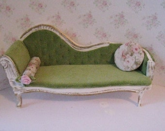 Dollhouse  Chaise ., chaise longue, green chaise, chartreuse velour, miniature chaise, day room, bedroom, ,, 1/12 scale chaise