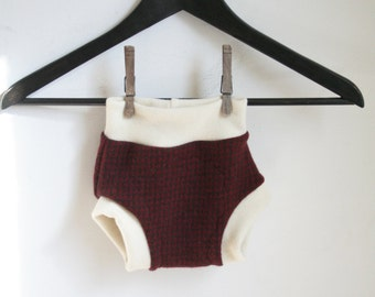brown and red pattern MEDIUM wool soaker - 6 to 12 months cloth diaper cover - sustainable and breathable