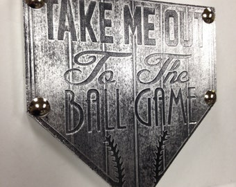 Buy one similar Take Me Out To The Ball Game Home Plate Baseball Custom Original Foil Metal Tape Art Faux Steel Ready To Hang Mancave