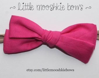 Hand Tied Gracie Bow~Hot Pink~Girls Hair Bow~Fabric Bow~Baby Bows~Baby headband~baby girl~toddler girl~hand tied bow~Hot pink bow~pink bow