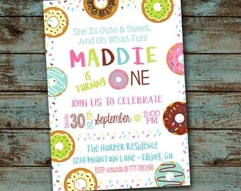Donut First Birthday Party Invitation, Donut Invitation, Donut Birthday Invitation, Donut Party, Turning One, Printable Digital File DIY