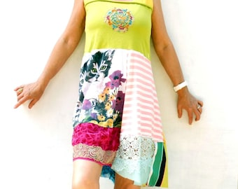 Handmade, Upcycled Clothing, Patchwork Dress, Funky , Cute Kitten dress, Boho, Gypsy, Wearable Art, ResplendentRags, SunDance, Festival