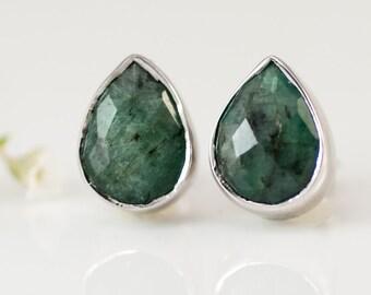 Raw Emerald Stud Earrings - May Birthstone Studs - Gemstone Studs - Tear Drop Studs - Silver Stud Earrings - Post Earrings