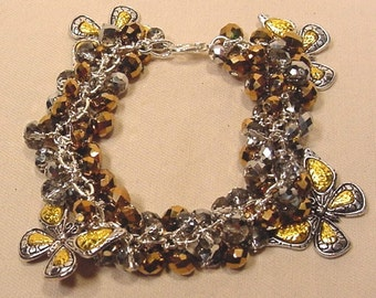 One Of A Kind Gold And Silver Butterfly Charm Beaded Bracelet Handcrafted
