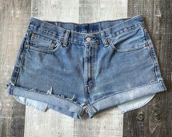 Levi's 505 High Waisted Shorts Vintage Levis Cut Off Levi Shorts High Waist Denim Cutoffs Distressed Red Tab Jeans Size Medium Large 10 12
